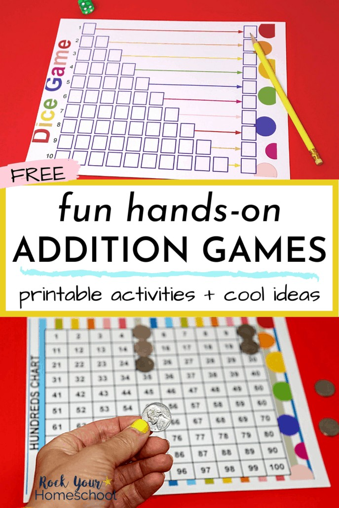 Colorful dice game with die & yellow pencil and woman holding nickel with hundreds chart to feature the awesome hands-on addition activities & games you'll get to make math fun for your kids