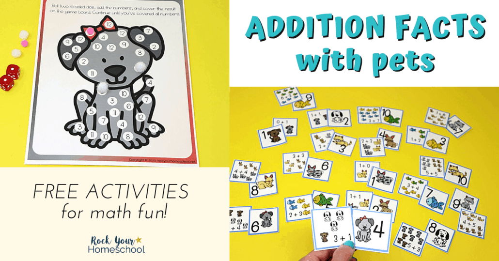 Your kids will have so much math fun with these variety of Addition Facts Activities featuring cute pets.