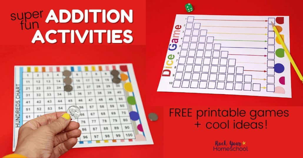 Your kids will love these fun hands-on addition activities with free printable games & cool ideas.