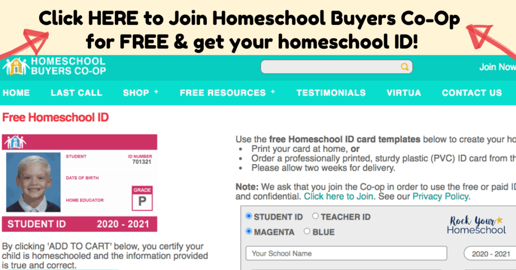 With your free Homeschool Buyers Co-Op, you get amazing homeschool deals & a homeschool ID.