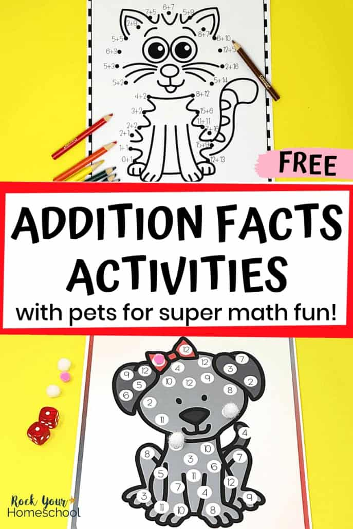 Connect by Sum cat with crayons & Roll and Cover dog with dice & pompoms to feature the awesome math fun your kids will have with these free Addition Facts Activities with pets