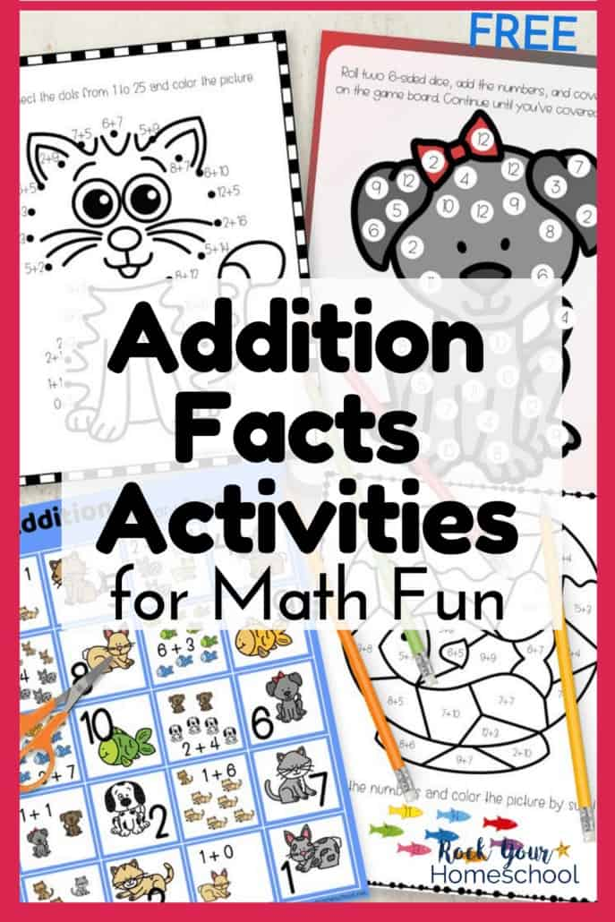 Connect the Sum cat, Roll and Cover dog, addition memory game cards, & color by sum fish bowl to feature the amazing math fun your kids will have with these Addition Facts activities with pets
