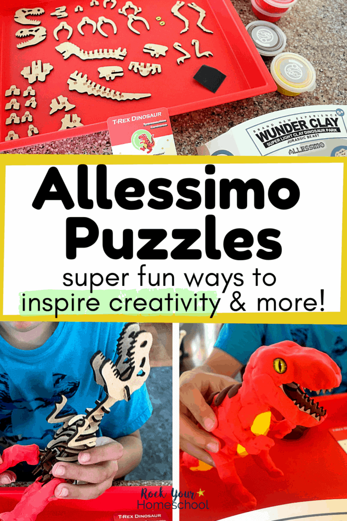 Pieces to a 3-D puzzle with a boy building a T-Rex to feature the super fun ways your kids can enjoy these DIY kits from Allessimo Puzzles