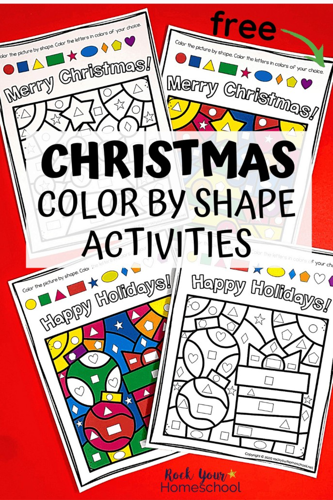 Christmas color by shape activities featuring Christmas tree, ornament, & present to show how your kids can enjoy this free printable set for special holiday fun