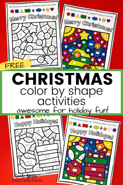 Christmas coloring activities featuring Christmas tree, ornament, and gift to show how this free printable set will help your kids enjoy amazing holiday fun