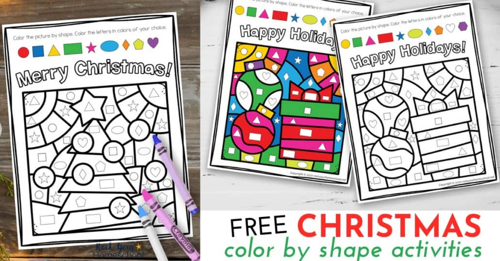 These 2 free Christmas Color By Shape Activities are fantastic for special holiday fun for kids.