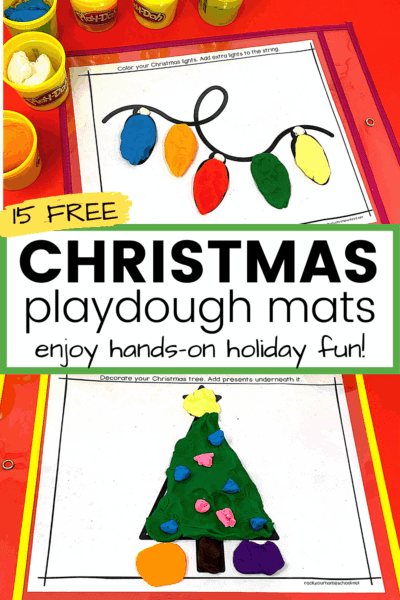 Holiday lights & Christmas tree playdough mats to feature the amazing holiday fun your kids will have with these 15 free Christmas playdough mats for creative fun