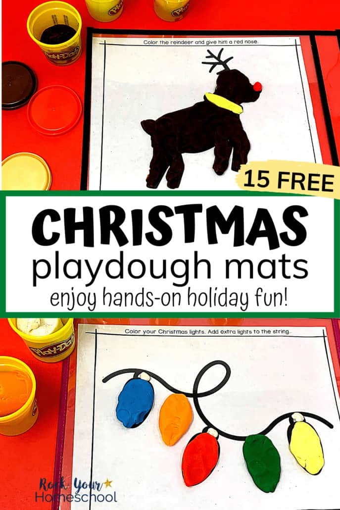 Reindeer & holiday lights playdough mats to feature the awesome holiday fun your kids will have with these 15 free Christmas playdough mats with creative prompts