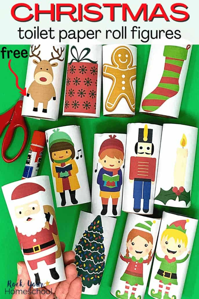 Woman holding Santa Christmas toilet paper roll figure with others in the background to show how this free printable set of Christmas toilet paper roll figures will provide your kids with amazing frugal holiday fun