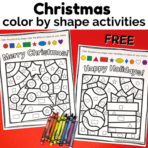 These 2 free Christmas color by shape activities are fantastic for special holiday fun for your kids.
