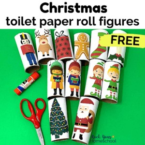 This free set of Christmas toilet paper roll figures is excellent for frugal holiday fun for kids.
