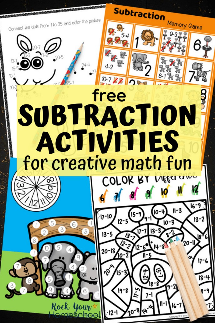 Subtraction connect the dots, memory game, roll-and-cover, & color by difference to feature how these 4 creative subtraction activities featuring cute zoo animals are amazing ways to make math fun