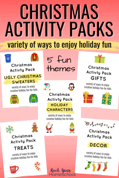 5 covers of Christmas Activity Packs to feature the amazing holiday fun your kids will have with these 5 themes
