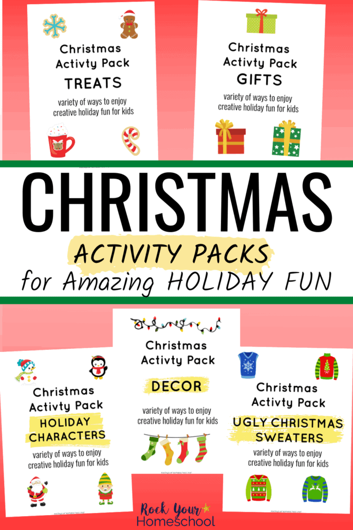 5 Christmas Activity Pack covers to feature the variety of amazing ways your kids will enjoy holiday fun with these cool themes & activities
