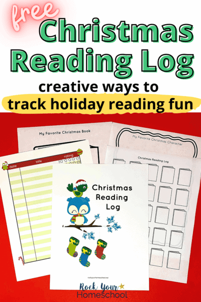Christmas reading log pages including cover, color chart, black and white tracker, favorite character prompt, & favorite book prompt to feature the special holiday fun your kids will have recording & tracking their Christmas reading fun this year