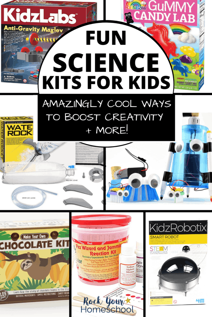 Variety of science kits for kids including anti-gravity, rainbow gummy candies, water rocket, creative robots, make your own chocolate, science buckets & more to feature how your kids will have a blast with these super fun science kits for kids