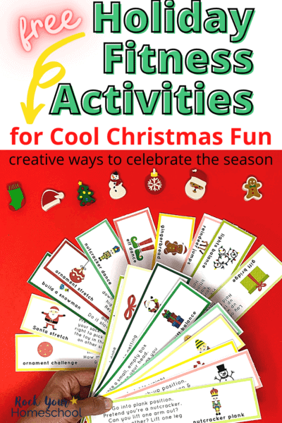 Woman holding Holiday Fitness Activities prompts with Christmas-themed mini-erasers in background to feature the super cool Christmas fun your kids will have with these 20 free creative prompts for fitness fun