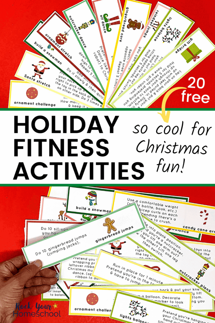 Woman holding Holiday Fitness activities prompts to feature how much fun your kids will have with these creative prompts for Christmas