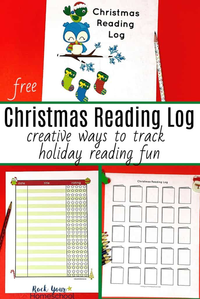Christmas reading log cover, color chart, & black and white tracker to feature the special holiday fun your kids will have recording & tracking Christmas books with this free pack