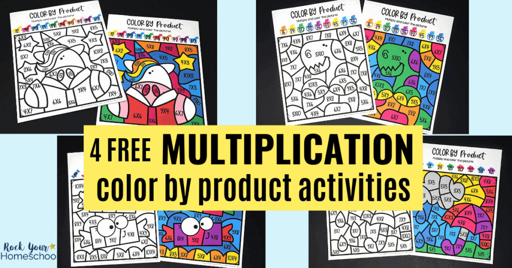 Easily make math fun with these 4 free multiplication coloring worksheets.