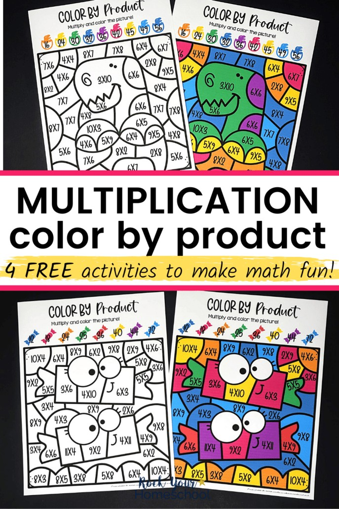 Dinosaur & candy color by product pages to feature the excellent math fun your kids will have with these 4 free multiplication coloring worksheets