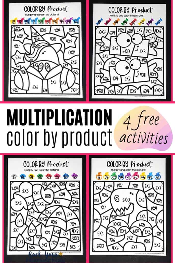 4 free multiplication color by product pages with unicorn, candy, rainy day, & dinosaur themes to make practicing math facts fun