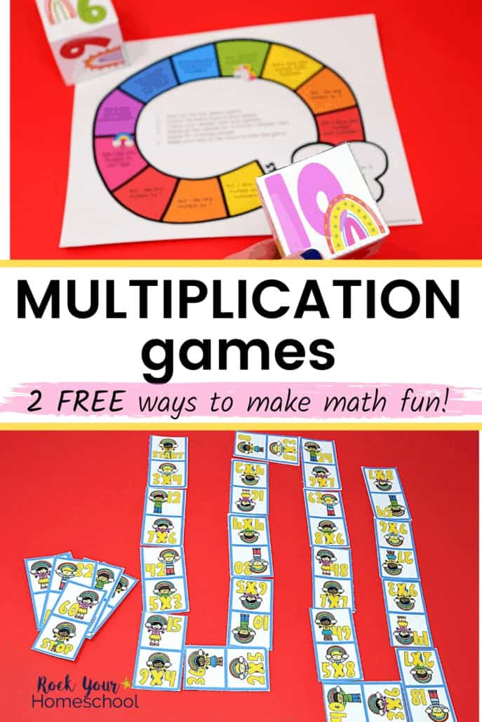 Rainbow multiplication game and rainbow multiplication dominoes game to feature the awesome math fun your kids will have with this free set of multiplication games