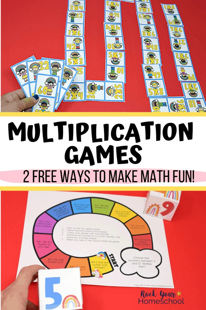 Multiplication dominoes and rainbow multiplication game to feature the excellent math fun your kids will have with these 2 free multiplication games