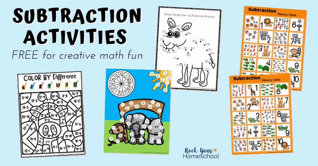 Easily make math fun with these 4 free creative subtraction activities.