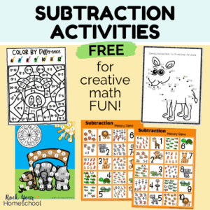 Your kids will love practicing subtraction facts with these 4 free subtraction activities for creative math fun.