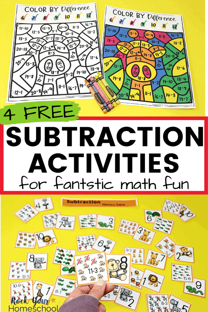 Color by difference & woman holding subtraction memory game card with others in background to feature how this free printable pack of 4 creative subtraction activities will help you easily make math fun for kids