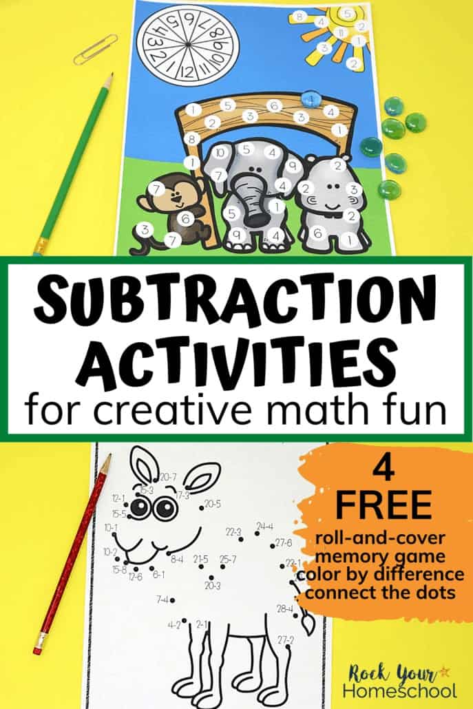 Subtraction roll-and-cover game & connect the dots featuring cute zoo animals to feature how these 4 creative subtraction activities can help you easily make practicing subtraction facts fun