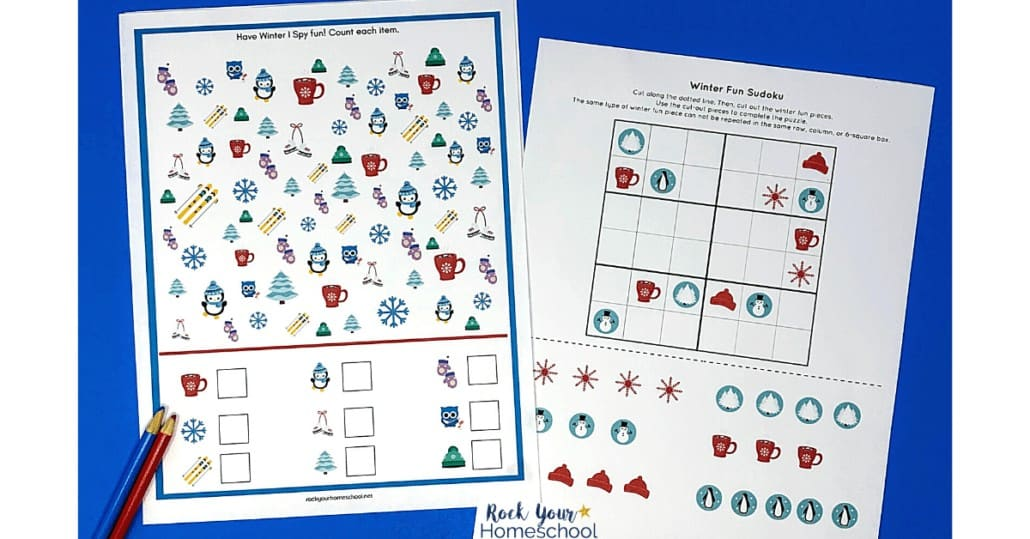 Winter I Spy and Sudoku are cool printables included in this Winter Fun Activities pack.