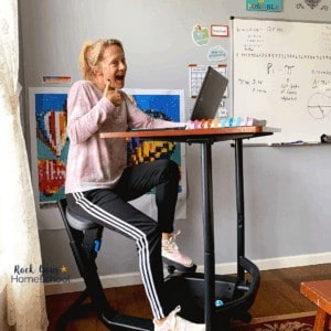 A super creative fun homeschool tool is a bike desk. Great for kids and moms, too!