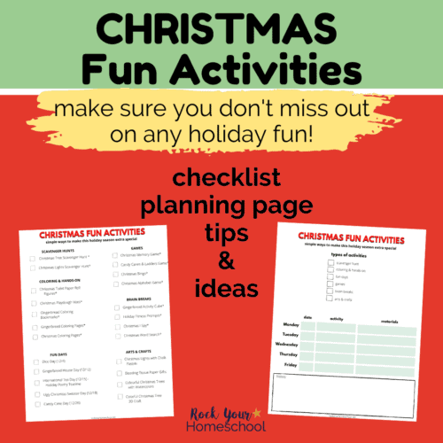 Make sure you don't miss out on any holiday fun with your kids by using this free Christmas Fun Activities planner pack.