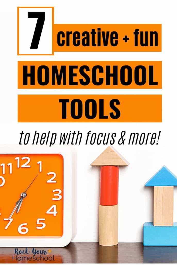 Orange analog clock and colorful blocks to feature how these 7 creative & fun homeschool tools can help your kids focus their attention & more