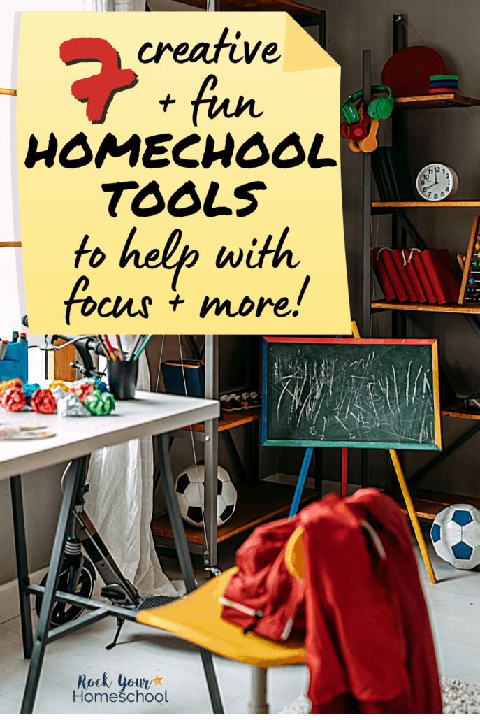 Boy's room with variety of educational materials, desk, & chair to feature how these 7 creative & fun homeschool tools can help you make learning at home fun