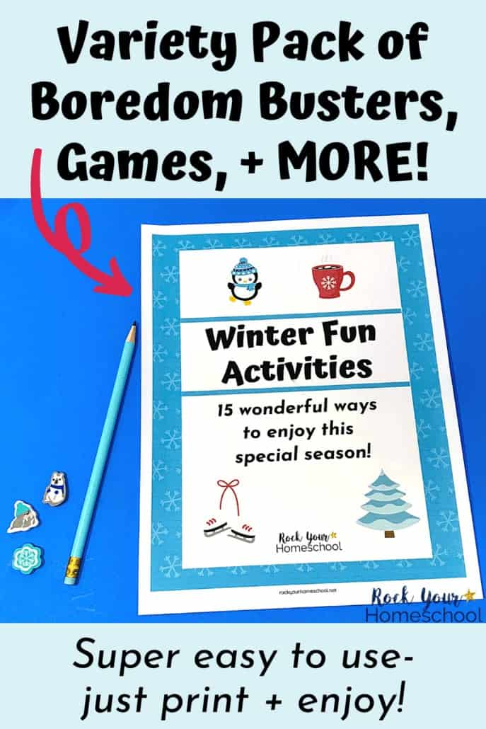 Winter Fun Activities pack cover & light blue pencil to feature the amazing fun your kids will have with this variety of boredom busters, games, & more