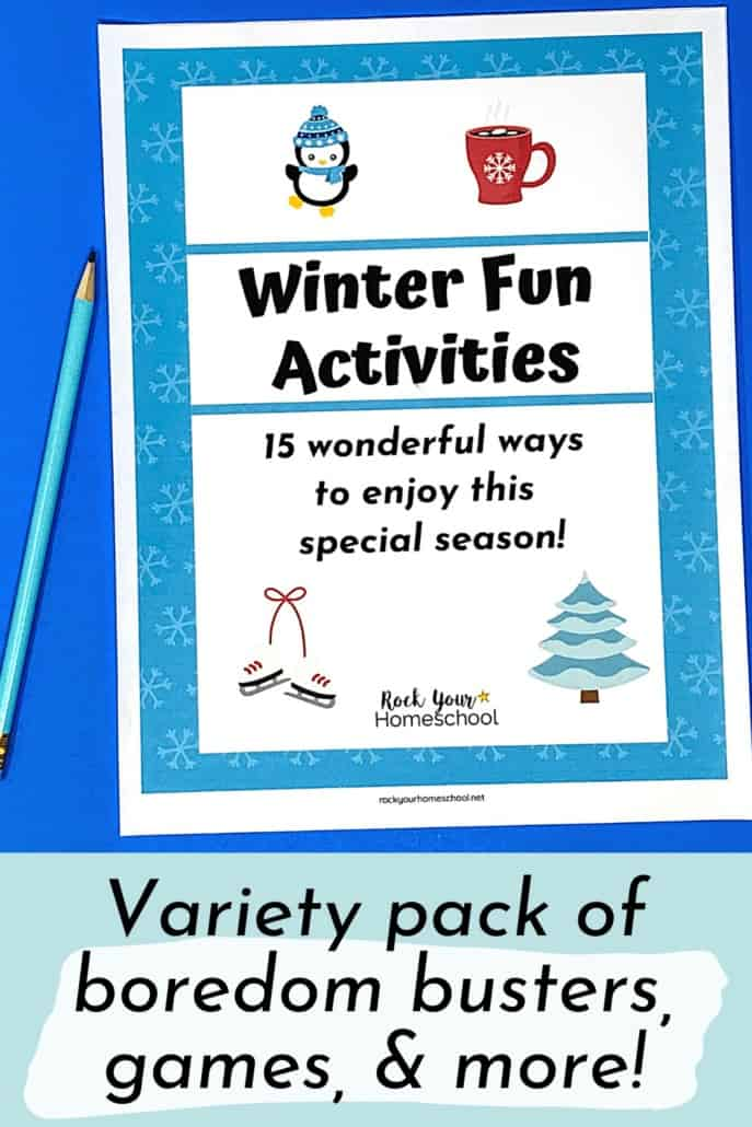 Winter Fun Activities pack cover to feature the amazing seasonal fun your kids will have with these games, boredom busters, & more