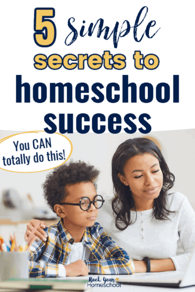 Smiling mom & son doing school work to feature how you can use these 5 simple secrets for homeschool success