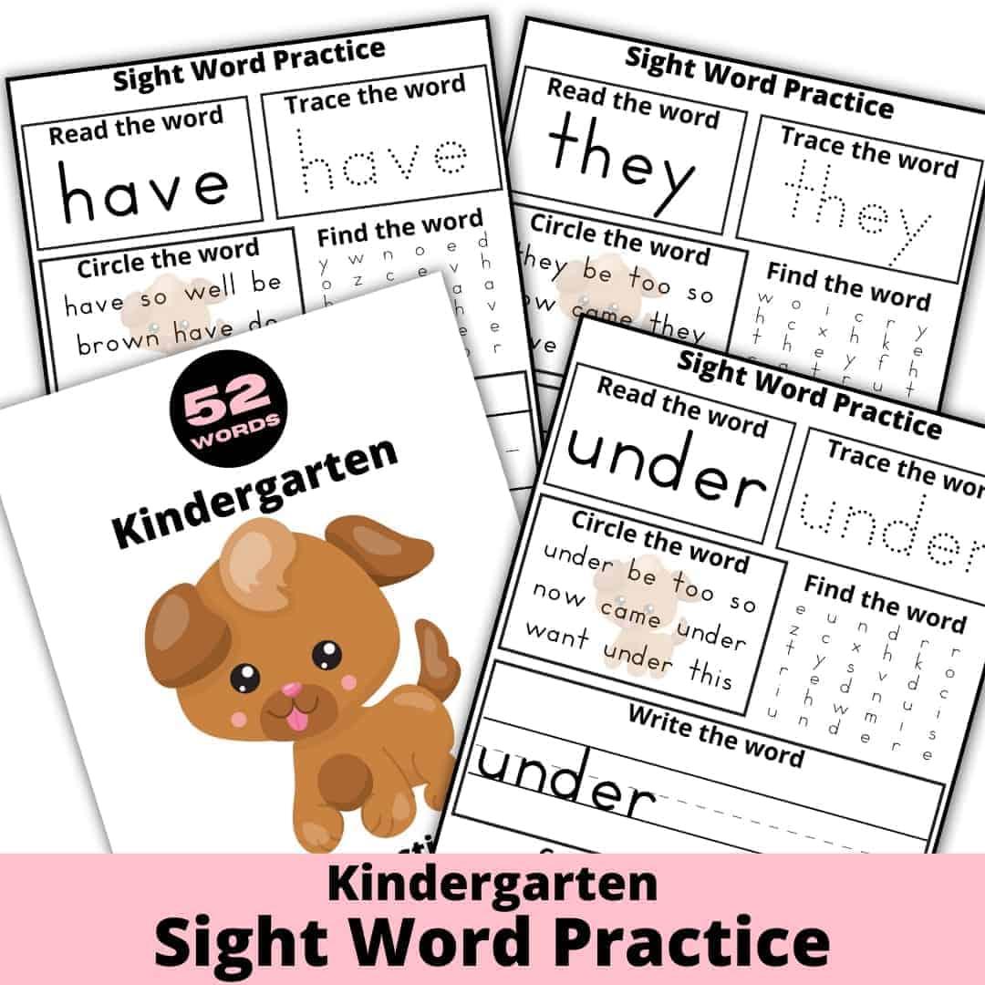 Kindergarten Sight Word Practice Worksheets