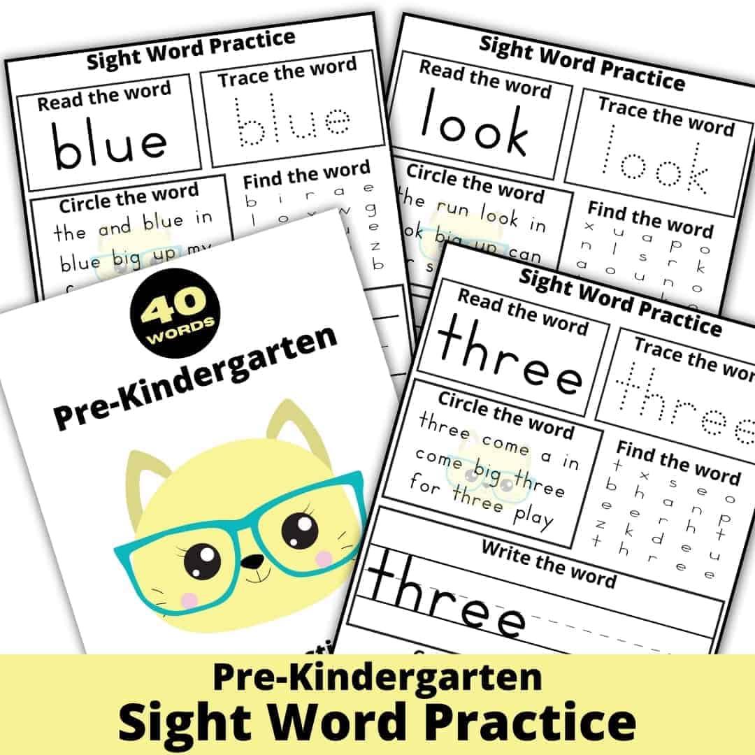 Pre-Kindergarten Sight Word Practice Worksheets