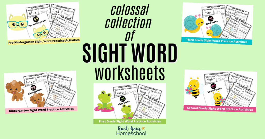 This colossal collection of sight word worksheets gives your kids fun ways to learn & practice these important words. Perfect for pre-Kindergarten through third grade!