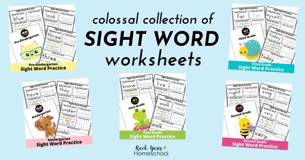 This colossal collection of sight word worksheets will help your kids learn & practice sight words in a fun way.
