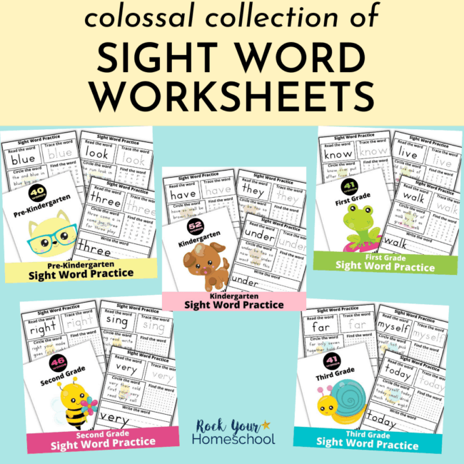 Make learning & practicing sight words fun with this colossal collection of sight word worksheets for pre-Kindergarten, Kindergarten, first grade, second grade, & third grade.