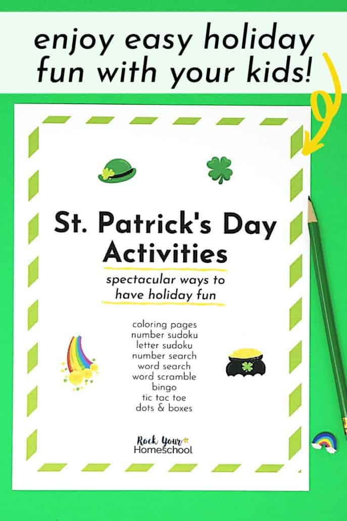 St. Patrick's Day activities pack cover to feature the excellent holiday fun you'll have with your kids using these printables