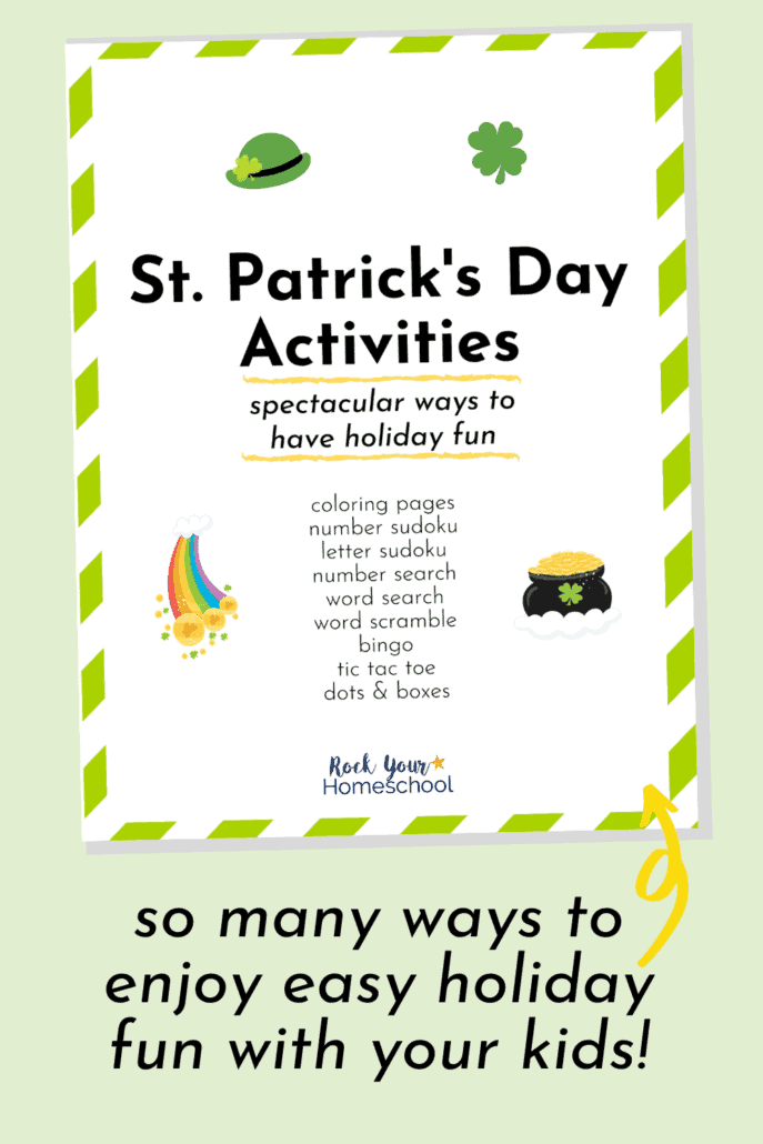 St. Patrick's Day Activities pack cover to feature the fantastic holiday fun you'll have with your kids to celebrate this holiday