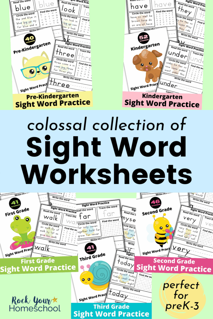 5 sets of sight word worksheets for pre-Kindergarten, Kindergarten, first grade, second grade, & third grade to feature how you can make learning these important words fun & easy for your kids