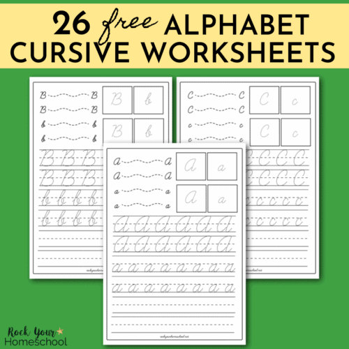 This pack of free 26 alphabet cursive worksheets is awesome for handwriting practice for your kids.
