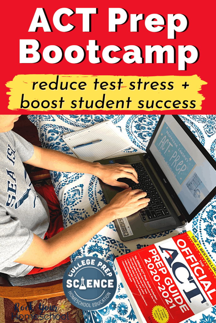 Teenage boy using ACT Prep Online Bootcamp by College Prep Science with Greg Landry to prepare for taking the ACT with confidence and less test stress